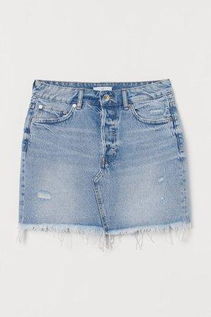 Raw-edge Denim Skirt - Light denim blue - Ladies | H&M US