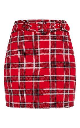 Red Tartan Check Belted Mini Skirt   PrettyLittleThing USA