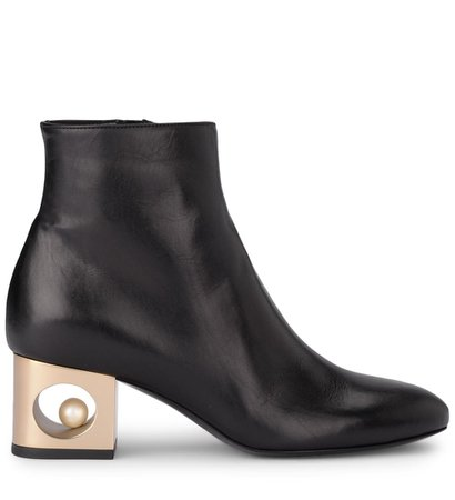 Coliac Tiffany Black Leather Ankle Boots With Pearl