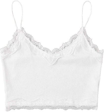 Verdusa Women's V Neck Spaghetti Strap Lace Trim Crop Cami Top White XS at Amazon Women's Clothing store
