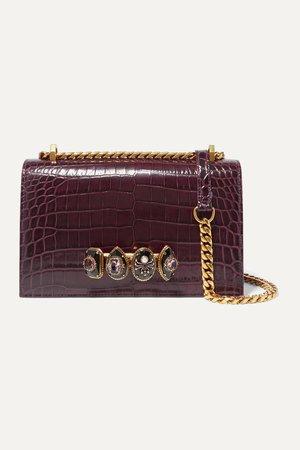 Red Jewelled Satchel embellished croc-effect leather shoulder bag | Alexander McQueen | NET-A-PORTER