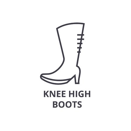 Knee High Boots Vector Line Icon.