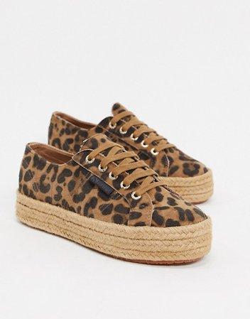 Superga 2730 espadrille flatform sneakers in leopard | ASOS