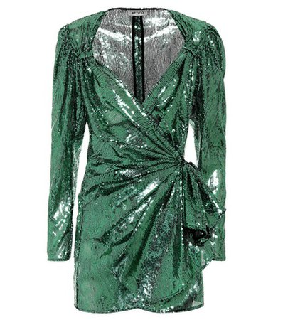 Sequined tulle wrap dress
