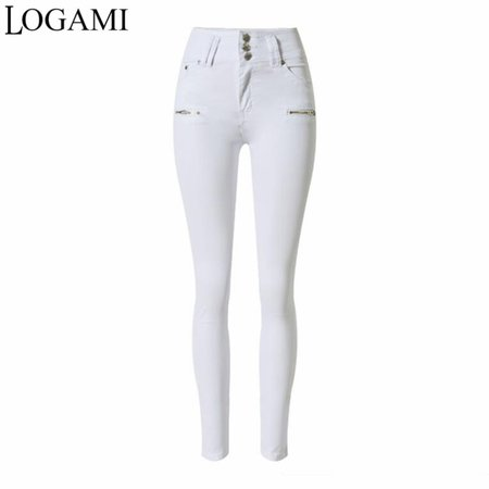 LOGAMI Elatic Cintura Alta Branco Skinny Jeans Mulher Magro Calça Jeans Lápis Para As Mulheres|jeans woman slim|white skinny jeans womenpencil jeans for women - AliExpress