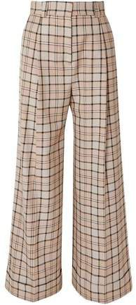 Pleated Checked Woven Wide-leg Pants