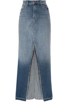 Long Denim Skirt With Split In The Middle