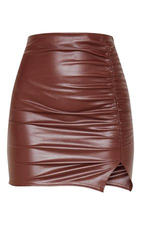 Chocolate Coated Ruched Split Mini Skirt   PrettyLittleThing USA