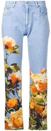 floral straight-leg jeans