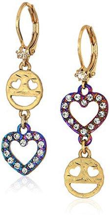 "Betsey Johnson ""Harlem Emoji"" Drop Earrings: Clothing"