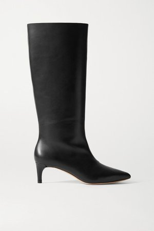 Gloria Leather Knee Boots - Black