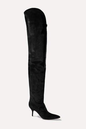Portugal Embellished Velvet Thigh Boots - Black