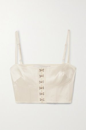 Satin-twill Bustier Top - White
