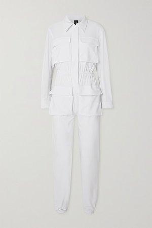 Cargo Jog Stretch-jersey Jumpsuit - White