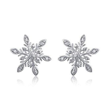 Amazon.com: Diamond Accent Snow Flake Earring: Jewelry