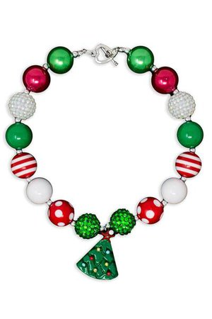 Red Green Christmas Tree Bubblegum Necklace - Sparkle In Pink