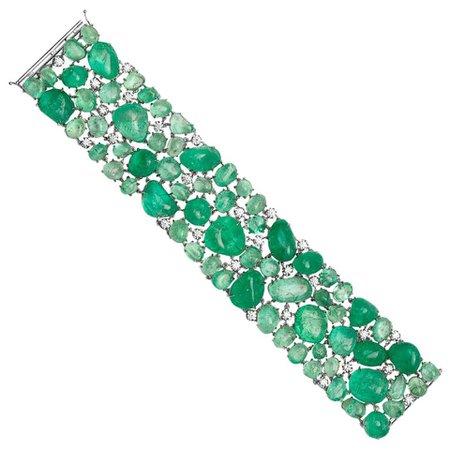 Muzo Emerald Colombia Diamonds 18K White Gold Classic Bracelet