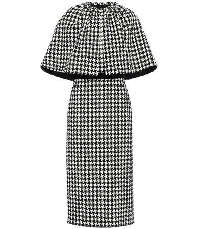 Gucci - Houndstooth wool-blend cape dress   Mytheresa