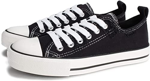Amazon.com   PepStep Canvas Sneakers for Women/Light Blue/Navy/Black Casual Shoes Low Top Lace up Fashion Sneakers (BLK with WHT, 9)   Fashion Sneakers