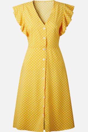 Yellow Polka Dot Ruffle Trim Casual A Line Dress