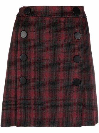 Pinko tartan high-waisted skirt
