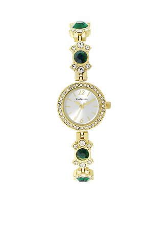 Kim Rogers® Gold-Tone Emerald Crystal Watch