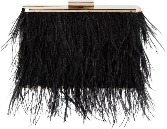 Ostrich Feather Embellished Clutch