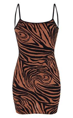 Brown Zebra Print Flocked Strappy Bodycon Dress | PrettyLittleThing USA