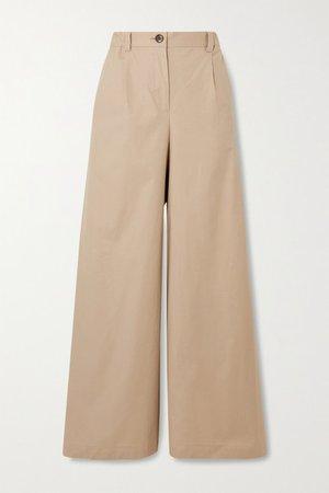Catheryn Cotton-blend Wide-leg Pants - Beige