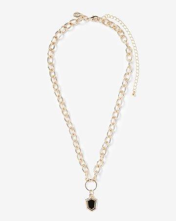 Black Shield Pendant Necklace