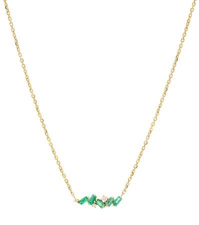 Suzanne Kalan - 18kt gold necklace with emeralds and diamonds | Mytheresa