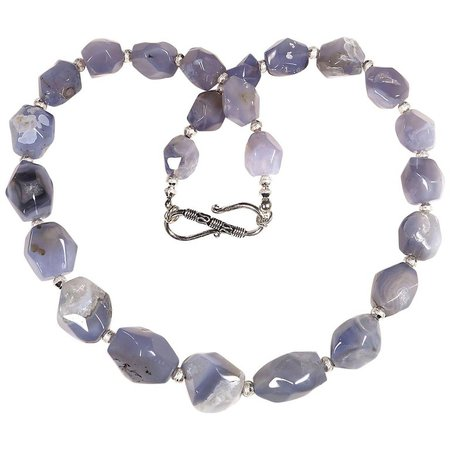Necklace of Glowing Blue Faceted Chalcedony Nuggets with Silver accents For Sale at 1stdibs