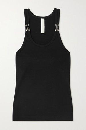 Embellished Ribbed Cotton-jersey Tank - Black