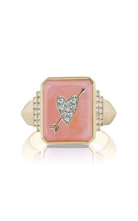 18k Yellow Gold Heart Signet Ring By Sorellina | Moda Operandi