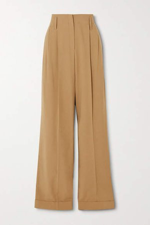 Pleated Wool Straight-leg Pants - Beige