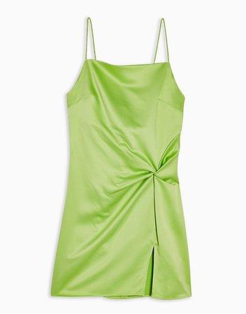 Topshop knot detail satin cami mini dress in green   ASOS