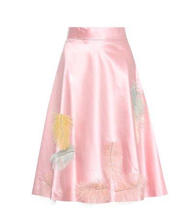 Feather-embellished silk skirt