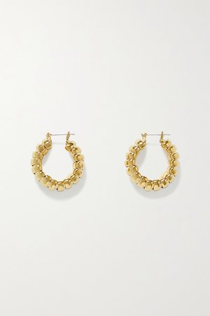 Gold Camilla gold-plated hoop earrings | Laura Lombardi | NET-A-PORTER