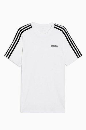 White Three Stripe T-Shirt by adidas   Topshop