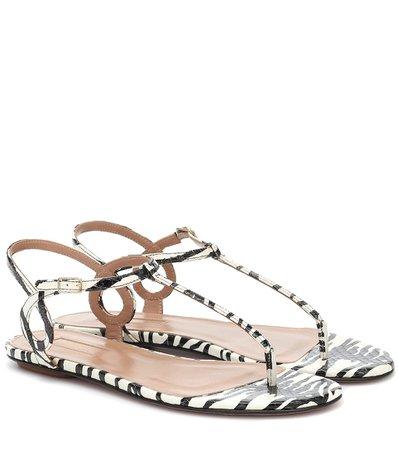 Almost Bare Printed Leather Sandals - Aquazzura | Mytheresa
