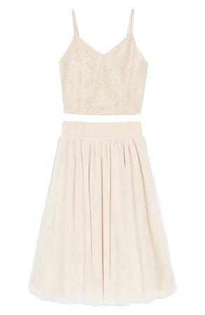 Miss Behave Embroidered Top & Tulle Skirt (Big Girls) | Nordstrom