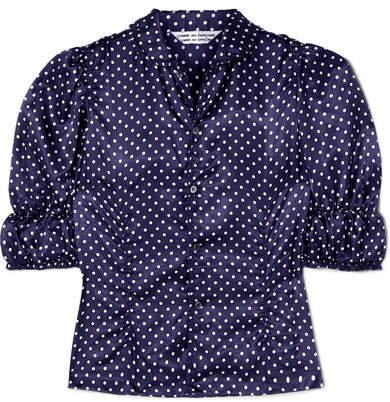 Ruched Polka-dot Washed-satin Blouse - Navy