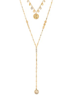 Layered Lariat Coin Necklace