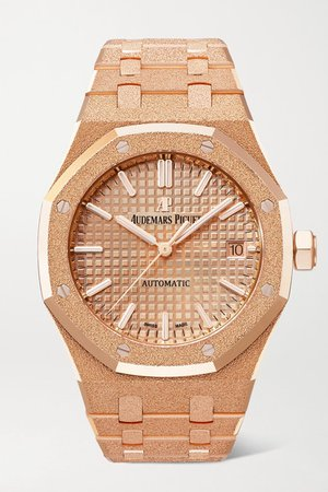 Audemars Piguet | Royal Oak Automatic 37mm 18-karat frosted pink gold watch | NET-A-PORTER.COM