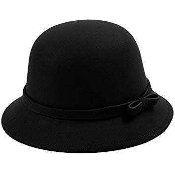 Amazon.com: EUBUY Womens Vintage Wool Felt Fedora Hat with Bowknot Floppy Hat Cloche Derb Bowler Hat Wide Brim Hat Black: Clothing