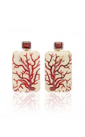Marquetry Coral Earrings by Silvia Furmanovich | Moda Operandi