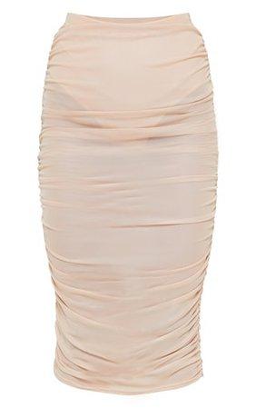 Stone Sheer Ruched Mesh Midi Skirt | PrettyLittleThing