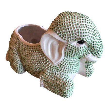 Vintage Green Hobnail Elephant Ceramic Planter | Chairish