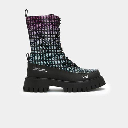 Fuck it up Rainbow Military Boots | Koi