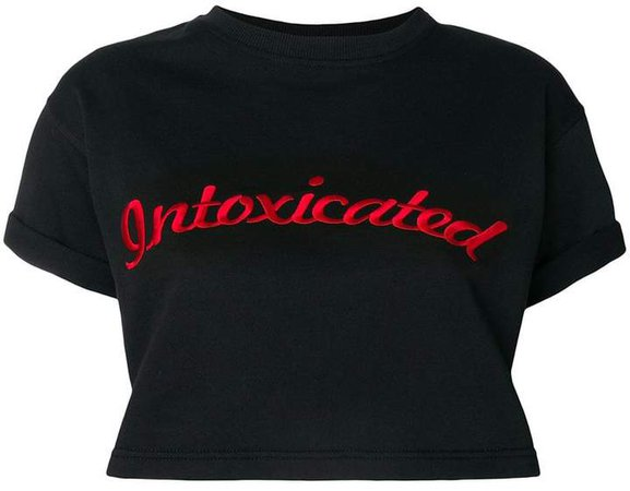 Intoxicated logo embroidered cropped T-shirt